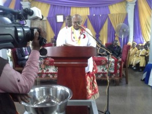 President Taking 1st Reading at the Thanksgiving Service at QIC Edebom 1